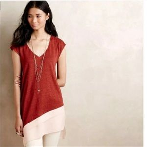 Deletta Anthropologie Rust Linen Tunic Top